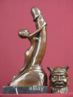 Signed 2pc. Art Deco Statue Very Rare Handcrafted Highly Detailed Sculpture