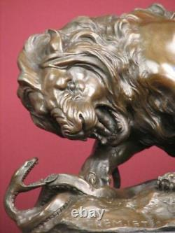 Signed Bronze Sculpture Lion Safari Highly Detailed Handcrafted Statue On Marble