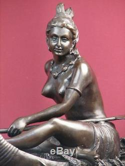 Signed Bronze Statue American Indian Highly Detailed Sculpture On Marble Base
