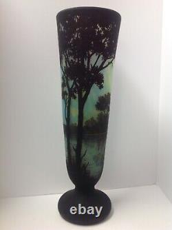 Signed Daum Nancy France Cameo Glass Vase. Scenic. Antique 20.5 High. Original
