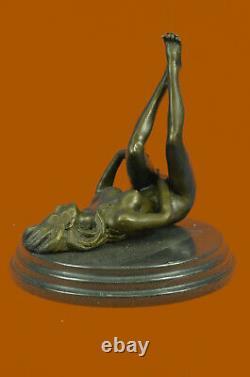 Signed High Quality Mavchi Art Deco Bronze Nude Girl Plinth Statue Sale Art Deco
