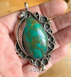 Signed Navajo Large Sterling Silver High Grade Green Royston Turquoise Pendant