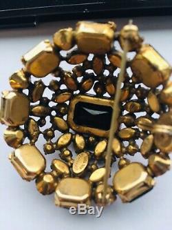 Signed Schreiner Ruby Red Garnet Brooch Pin Rare Vintage High Domed Prong Set