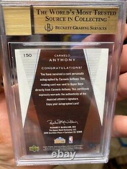 Sp Authentic Bgs 9.5 True Gem Auto 10 High Subs Carmelo Anthony Rookie 2003 /500