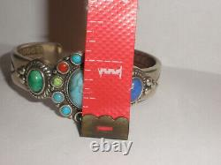 Sterling silver Don Lucas High Desert Collection sign cuff bracelet multistones