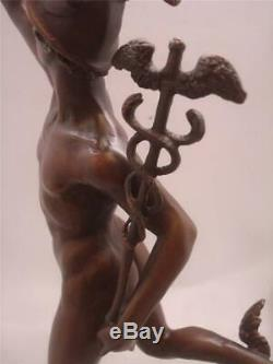 Stunning Mercury / Hermes Bronze Signed GIAMBOLOGNA 43cm High Marble Base
