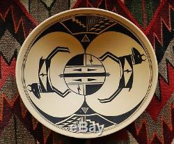 Superb Acoma Thin-Wall High-Fired 9.5 Wide Mimbres Pottery Pot Bowl Signed