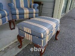 Superb Pair Of Signed Woodmark Originals Queen Anne High Backs With Ottoman