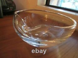Tiffany & Co Signed Elsa Peretti Italy Glass Thumbprint Bowl 7, 3 1/2high