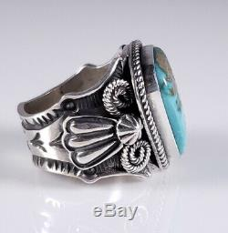 Turquoise Navajo Sterling Silver Ring Rare High Grade Fox Handmade Andy Cadman