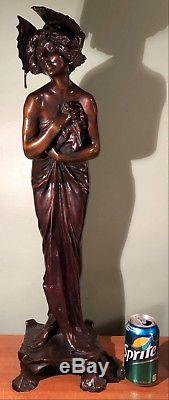 VINTAGE signed ALLIOT 27 1/4 BRONZE PHALENE LADY FIGURE STATUE- HIGH QUALITY