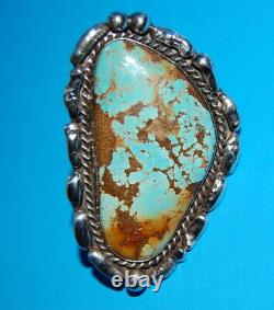 Very Large, Old Pawn Zuni Handmade Silver & High Grade Turquoise Ring Signed Jt
