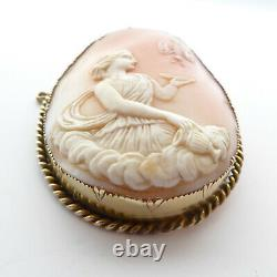 Victorian Butterfly Cameo Cupid & Psyche Rare Scene High Carat Gold Mount Signed