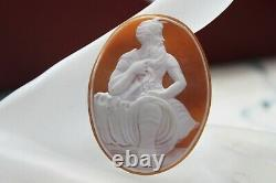 Victorian Vtg Carved Hard Stone / Shell Cameo High Relief 2 x 1 1/2 Signed