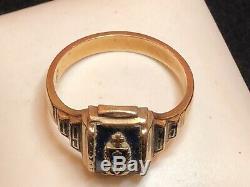 Vintage 10k Gold High School Ring Scrape 1966 Signed Fowler 6.8 Grams
