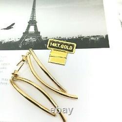 Vintage 14k Gold Israel Signed High Polish Dangle Earrings