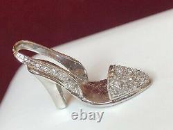 Vintage Estate 14k White Gold Diamond Pendant Charm High Heel Show Signed Bjc