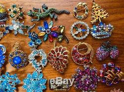 Vintage Estate Lot 75 Rhinestone Brooch Signed Mixed Jewelry High End