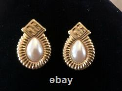Vintage Givenchy Signed Faux Pearl Gold Plated Pierced Earrings High Quality