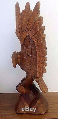 Vintage Hand Carved Wood Eagle 25 High 8 1/2 W Signed Bahamas Good Condition