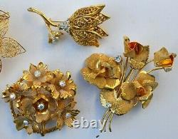 Vintage High End 60 Rhinestone, Coral Jewelry Lot, Signed, Juliana