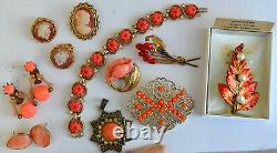 Vintage High End 60+ Rhinestone, Coral Jewelry Lot, Signed, Juliana, Brooch Etc