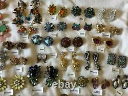 Vintage High End All Signed Earring Lot Schiaparelli, Schreiner, Trifari