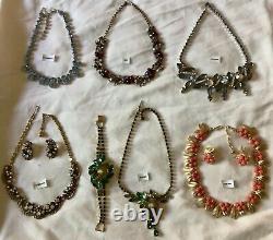 Vintage High End All Signed Necklace Set Lot Eisenberg, Trifari, Juliana