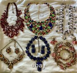 Vintage High End All Signed Necklace Set Lot Haskell, Oscar de la Renta, Hobe