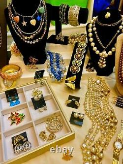 Vintage High End Jewelry 102 Piece Pearl Rhinestone Lot Signed