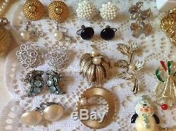 Vintage High End Jewelry Lot 77 Pcs ALL SIGNED Monet Crown Trifari Sterling ++
