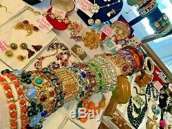 Vintage High End Jewelry Lot Schiaparelli Juliana Signed Sets Cuffs 195 Pc