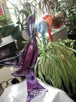 Vintage Murano Glass Alexandrite Bird Signed Zanetti Lilac Pink Glow 17 High