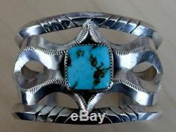 Vintage Navajo Fred Harvey Tufa-Cast High Grade Bisbee Turquoise Bracelet 1940's