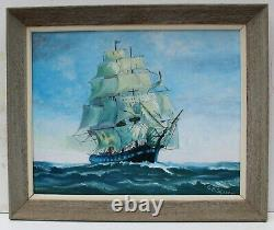 Vintage Oil painting on board, seascape, Sailing Ship in the High Sea, Signed