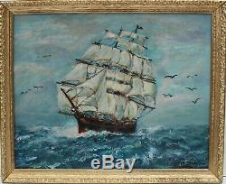 Vintage Oil painting on canvas, seascape, Sailing Ship in the High Sea, Signed