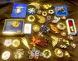 Vintage Rhinestone Jewelry Lot 125pc High End Designer Signed Sets, Necklaces