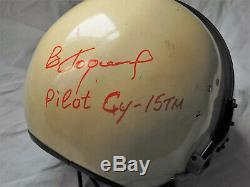 Vintage SOVIET Fighter Pilot HELMET ZSh-5A High Altitude Pressure Helmet SIGNED
