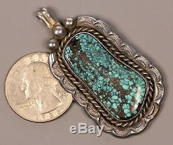 Vintage Sterling Silver Navajo High Grade Spiderweb Turquoise Pendant Signed