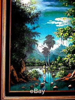 Vintage Vasquales Oil Cnv Painting Occult High Magic Moon Light Trees Landscape
