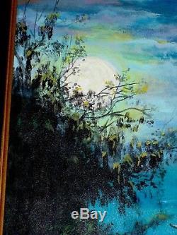 Vintage Vasquales Oil Cnv Painting Occult High Magic Moon Light Trees Landscape