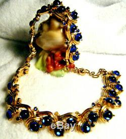 Vintage'high End Signed Trifari' Cobalt Blue Cabochon Rhinestone Necklace As Is