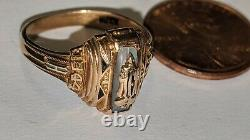Vtg 1944 10k Yellow Gold High School Class Ring Size 6 3/4 Herff Jones Signed