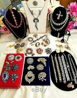 Vtg High End Rhinestone Jewelry Lot, Signed Weiss, Florenza Trifari D&E 4 Sarah