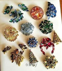 Vtg High End Rhinestone Jewelry Lot Signed Weiss Juliana Eisenberg Hollycraft
