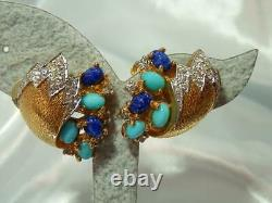 WOW RARE Vintage 60's Jomaz Signed Lapis Art Glass High End Clip Earrings 907f1