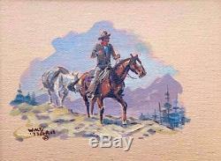 Walt LaRue -Western Scene -Cowboy on Horse High Country Drifter -Small Work