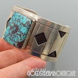 Wilson Padilla Navajo 925 Silver High Grade Turquoise Modernist Cuff Bracelet