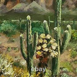 YARY DLUHOS ORIGINAL OIL PAINTING High Desert Landscape Saguaro Cactus Mountains